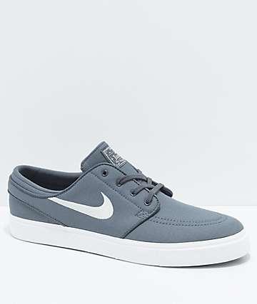 Nike SB Janoski zapatos de skate de lienzo Ripstop en gris y blanco