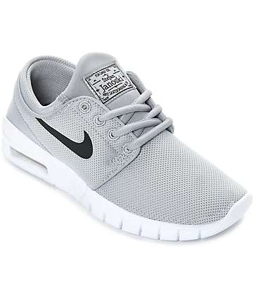 Nike SB Kids Janoski Air Max Wolf Grey & White Skate Shoes