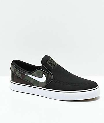 Nike SB Kids Janoski Black & Camo Slip-On Canvas Skate Shoes