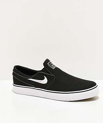 Nike SB Kids Janoski Black & White Slip-On Canvas Skate Shoes