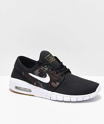 4d29f80e10 Nike SB Kids Janoski Max Black & Camo Skate Shoes