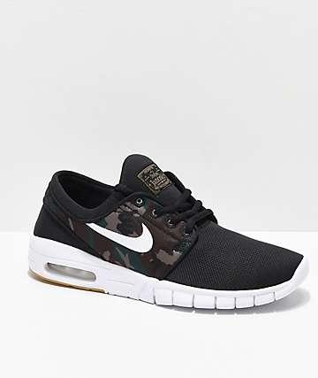 Nike SB Kids Janoski Max zapatos de skate en negro y camuflaje