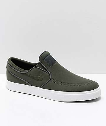 Nike SB Kids Janoski Sequoia & White Slip-On Canvas Skate Shoes