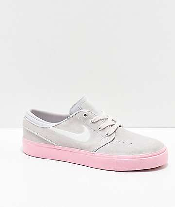 Nike SB Kids Janoski Vast Grey & Pink Skate Shoes