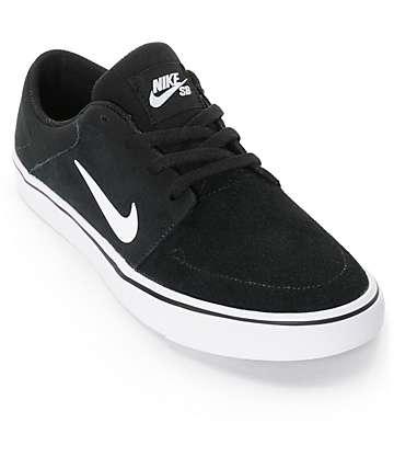 Nike SB Kids Portmore Black & White Skate Shoes