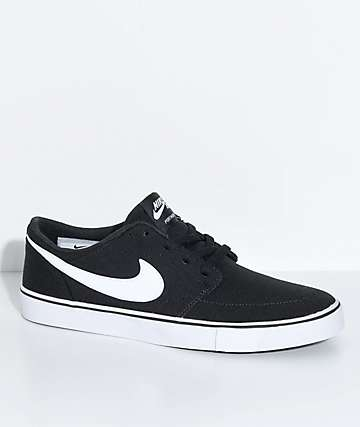 Nike SB Kids Portmore II Black & White Canvas Skate Shoes