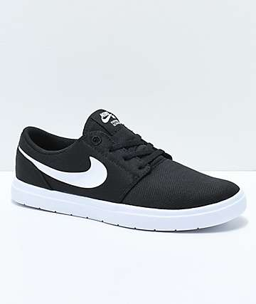 Nike SB Kids Portmore II Ultralight Black & White Skate Shoes
