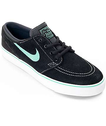 Nike SB Kids Stephan Janoski Black & Green Glow Skate Shoes