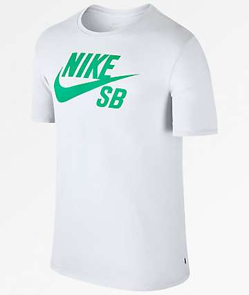 Nike SB Logo Dri-Fit White & Teal T-Shirt