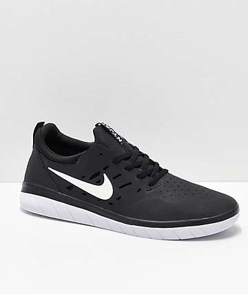 Nike SB Nyjah Free Black & White Skate Shoes