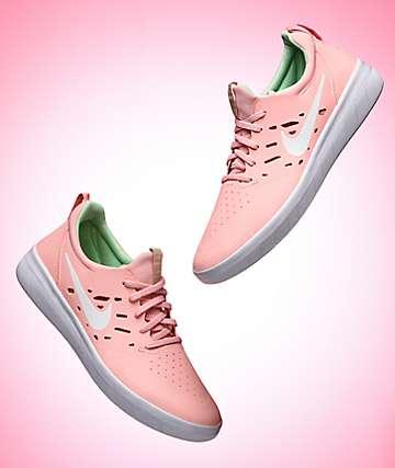 Nike SB Nyjah Free Bleached Coral & White Skate Shoes