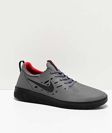 Nike SB Nyjah Free Dark Grey, Black & Gym Red Skate Shoes