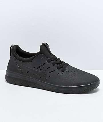 super popular 275f9 70f3c Nike SB Nyjah Free Summit All Black Skate Shoes