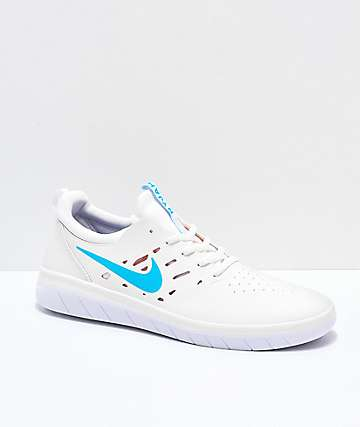 Nike SB Nyjah Free Summit White, Blue & Red Skate Shoes