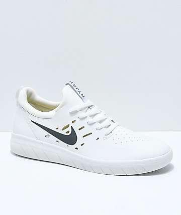 best website 9ba09 a94df Nike SB Nyjah Free White Skate Shoes