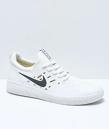 best website ea852 ab929 Nike SB Nyjah Free White Skate Shoes