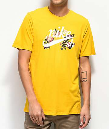 Nike SB Old School Floral Logo Gold T-Shirt
