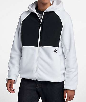 Nike SB Polar Tech White & Black Colorblock Hoodie