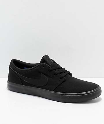 422c128797ce4 Nike SB Portmore II All Black Canvas Skate Shoes