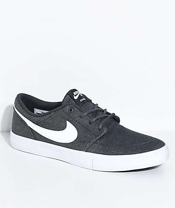 Nike SB Portmore II Anthracite, White & Black Canvas Skate Shoes