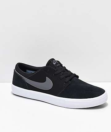 Nike SB Portmore II Black, Dark Grey & White Skate Shoes