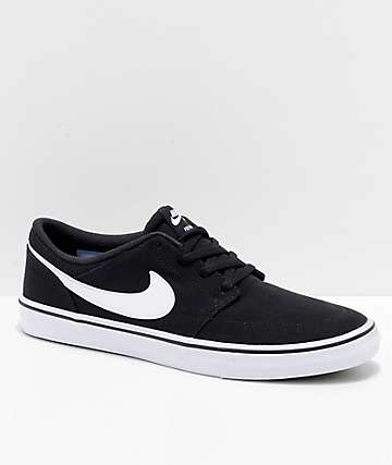 detailed look 7cbef 24ff5 Nike SB Portmore II Black   White Canvas Skate Shoes