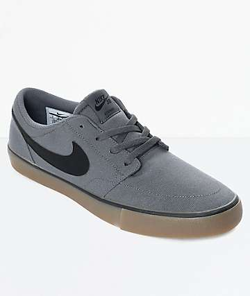 Nike SB Portmore II Dark Grey & Gum Canvas Skate Shoes
