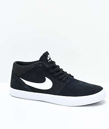 Nike SB Portmore II Mid Black & White Skate Shoes