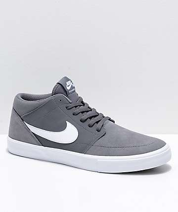 Nike SB Portmore II Mid Grey & White Skate Shoes