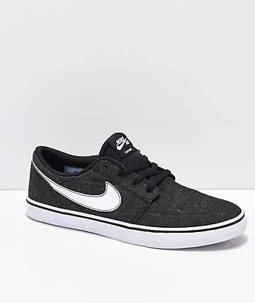 Nike SB Portmore II Premium Black & White Canvas Skate Shoes