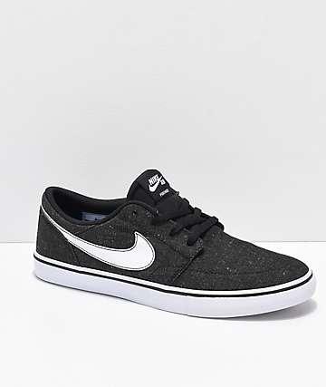 Nike SB Portmore II Premium Black & White Canvas Skate Shoes