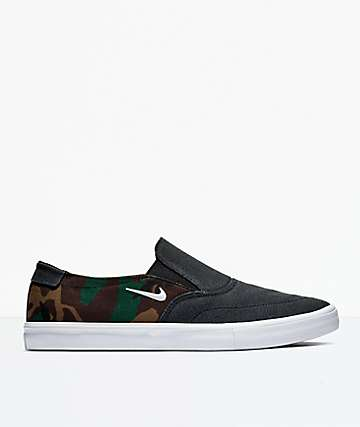 Nike SB Portmore II Solar Black & Camo Slip-On Shoes
