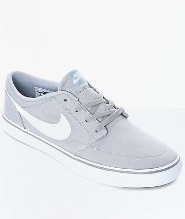 Nike SB Portmore II Wolf Grey & White Canvas Skate Shoes