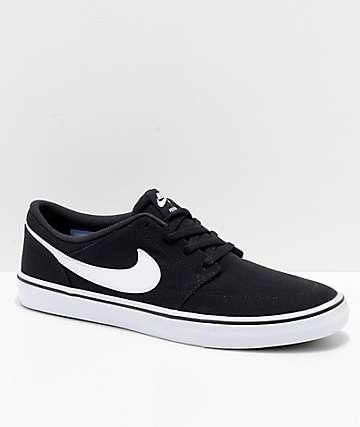 Nike SB Portmore II zapatos de skate de lienzo en negro y blanco