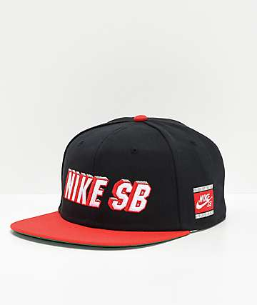 0b2137519cd57 Nike SB Pro Cap Red   Black Snapback Hat