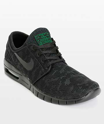 Nike SB Stefan Janoski Air Max Black & Pine Mesh Skate Shoes