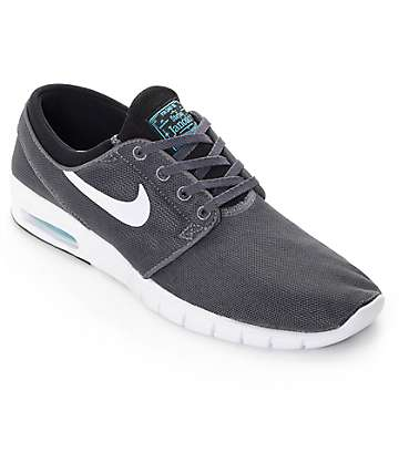 Nike SB Stefan Janoski Air Max Dark Grey, White, & Gamma Skate Shoes