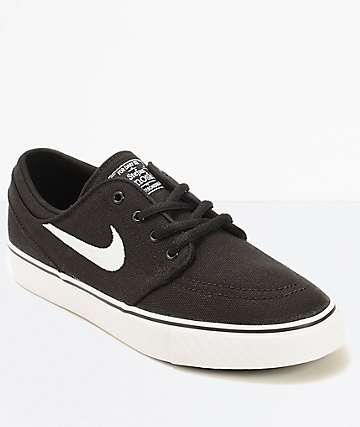 Nike SB Stefan Janoski Black Canvas Kids Skate Shoes