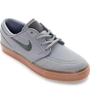 Nike SB Stefan Janoski Grey & Gum Canvas Boys Skate Shoes