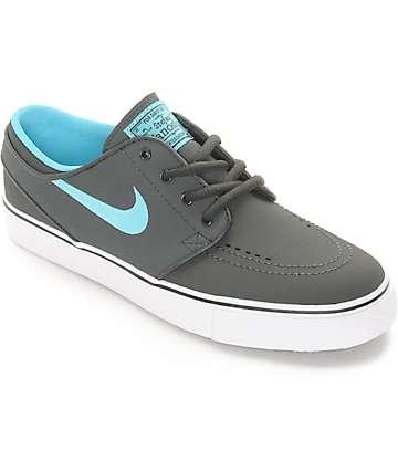 Nike SB Stephan Janoski Grey & Teal Nubuck Boys Skate Shoes