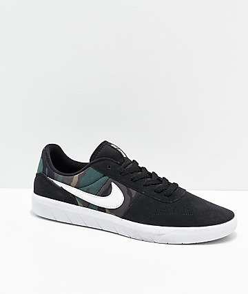 Nike SB Team Classic Camo, Black & White Skate Shoes