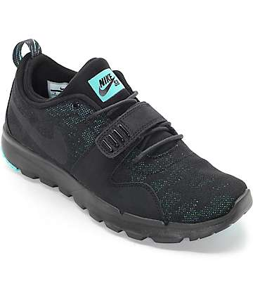 Nike SB Trainerendor Black, Black & Jade Shoes
