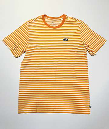Nike SB Yellow, Orange & White Striped T-Shirt
