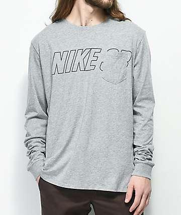 Nike SB camiseta gris de manga larga con bolsillo