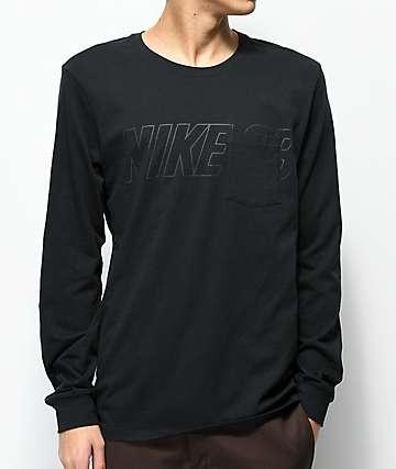 Nike SB camiseta negra de manga larga con bolsillo