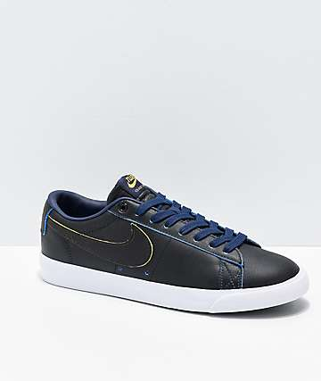 Nike SB x NBA Blazer Low GT Black, Yellow & Navy Skate Shoes