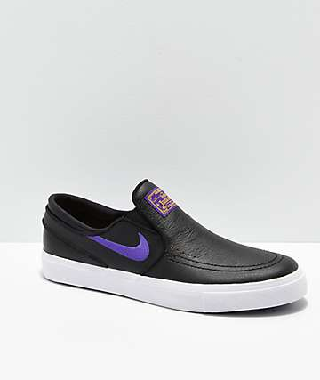 Nike SB x NBA Janoski Black & Purple Slip-On Skate Shoes