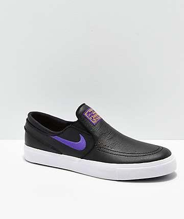 Nike SB x NBA Janoski Slip-On zapatos de skate negros y morados