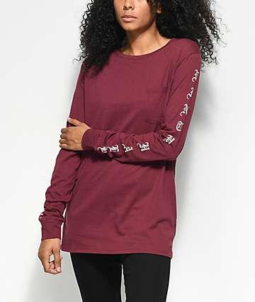 Ninth Hall Aiko Burgundy Long Sleeve T-Shirt