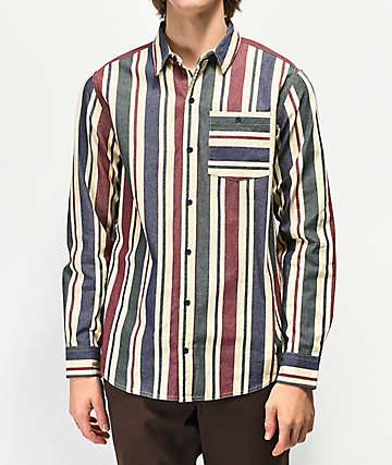 Ninth Hall Aspect Striped Long Sleeve Button Up Shirt